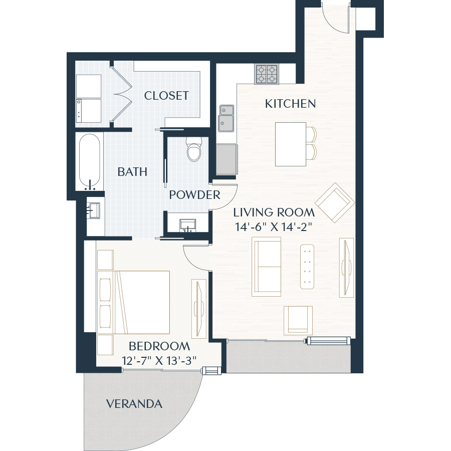 925 sq. ft. A3 floor plan