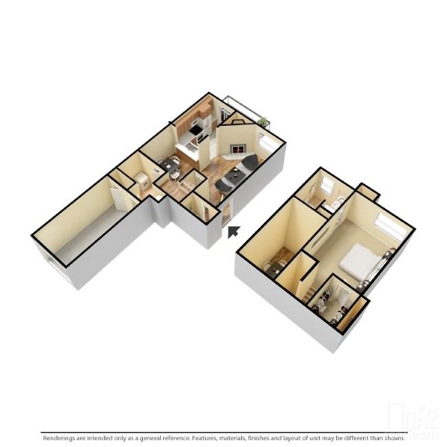 900 sq. ft. A1 floor plan