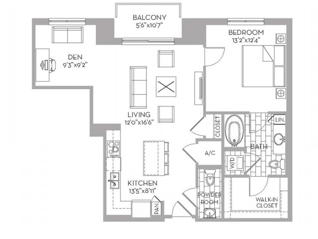 973 sq. ft. Royal(A.17) floor plan