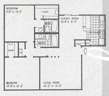 1,093 sq. ft. B1A floor plan