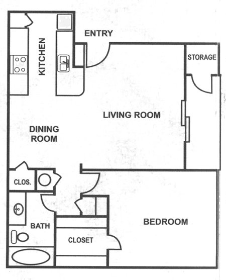 667 sq. ft. A4 floor plan