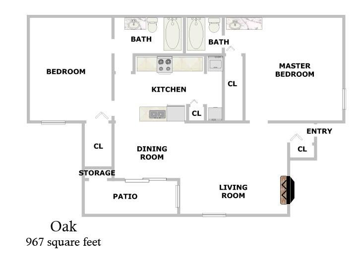 967 sq. ft. Oak floor plan