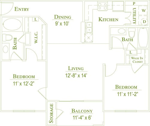 983 sq. ft. 60 floor plan
