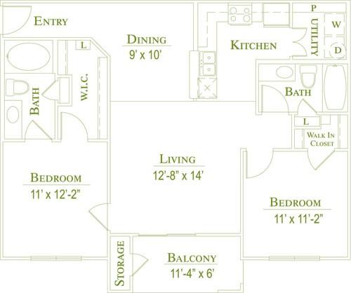 983 sq. ft. 60% floor plan