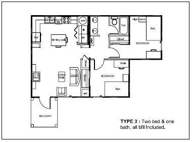 700 sq. ft. Type 3 floor plan