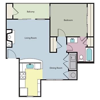 738 sq. ft. Mesquite floor plan
