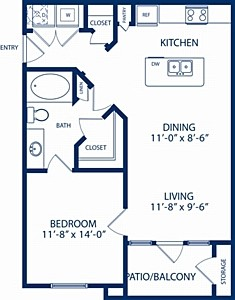 701 sq. ft. Cedar floor plan