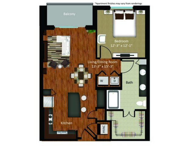 859 sq. ft. A18 floor plan