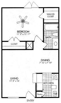 617 sq. ft. A5 floor plan