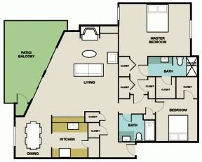 1,330 sq. ft. 2C2 floor plan
