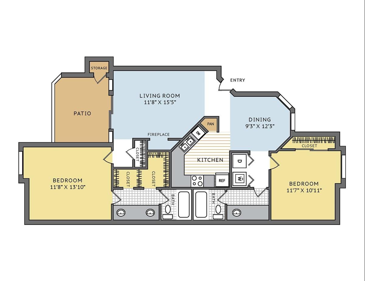 1,058 sq. ft. Westchester floor plan