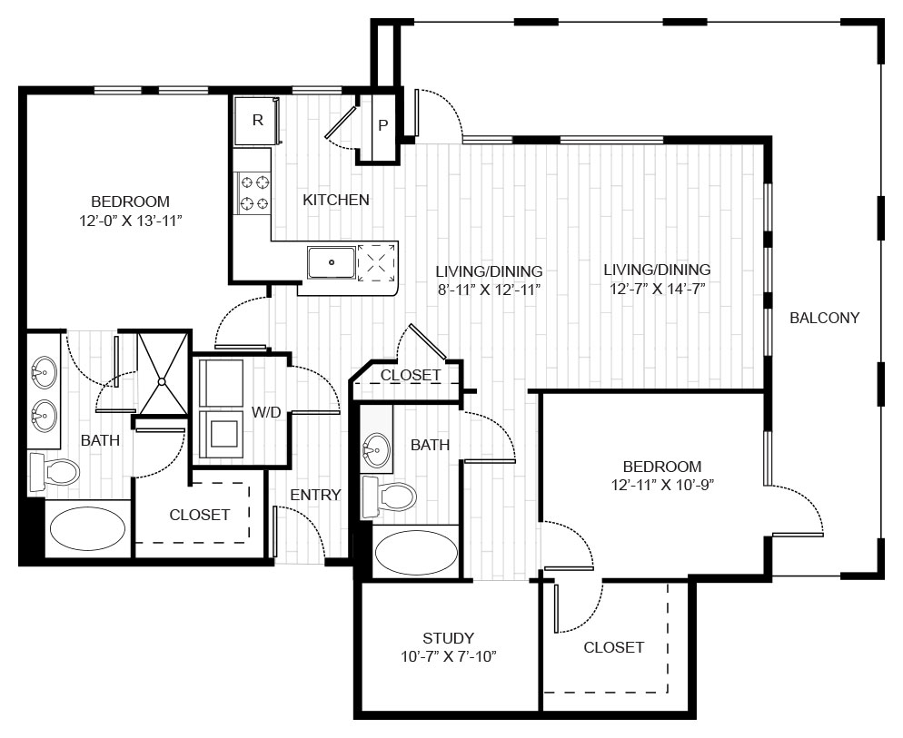 1,418 sq. ft. 3B floor plan