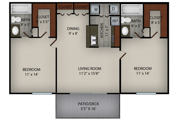 917 sq. ft. Sagamore floor plan