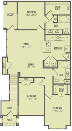 1,285 sq. ft. C1/Woodcreek floor plan