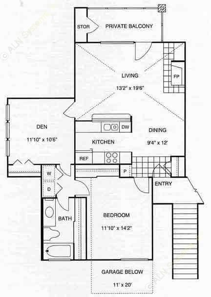 932 sq. ft. A6 w/Gar 2nd Flr floor plan