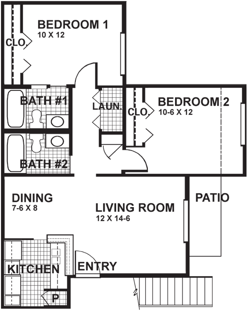 859 sq. ft. B3F floor plan