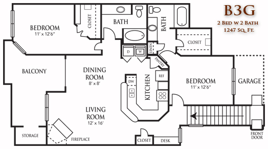 1,247 sq. ft. B3G floor plan