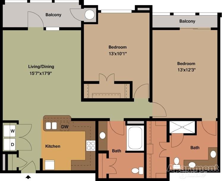 1,270 sq. ft. Coltrane/Mkt floor plan