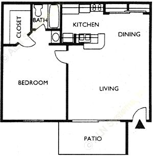 528 sq. ft. LIVINGSTON floor plan