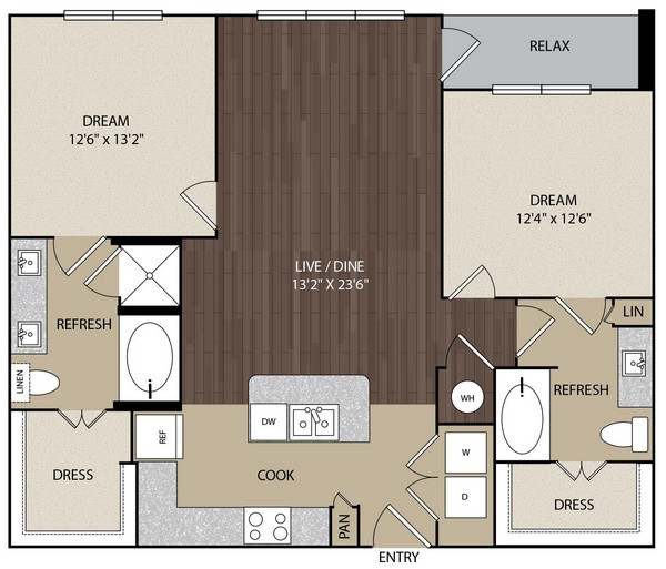 1,148 sq. ft. B1 floor plan