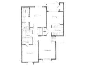 1,100 sq. ft. LA MOYNE floor plan