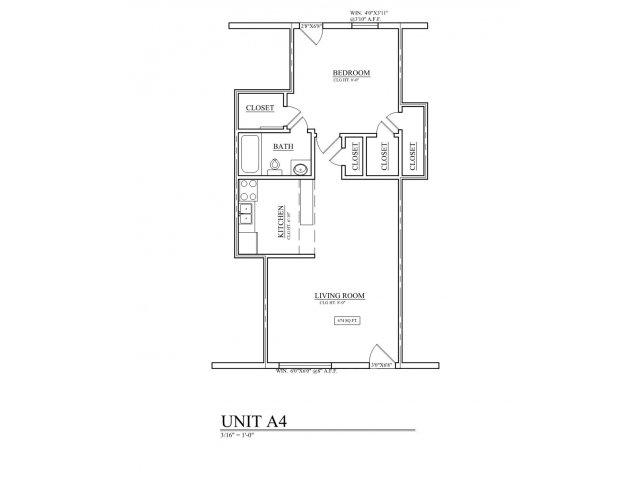 695 sq. ft. B4 floor plan