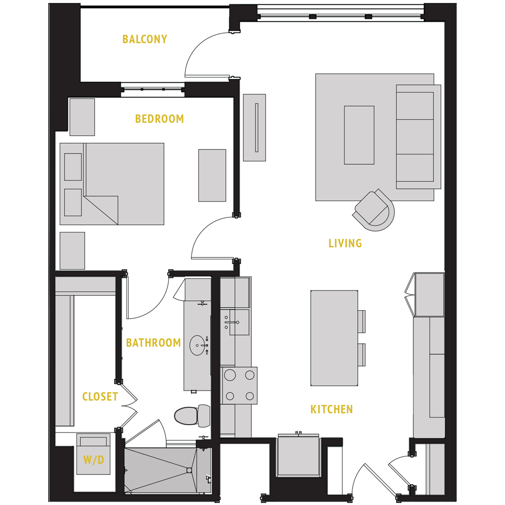 768 sq. ft. A7 floor plan