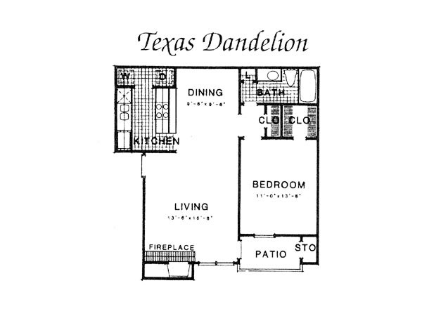 750 sq. ft. III A3 floor plan