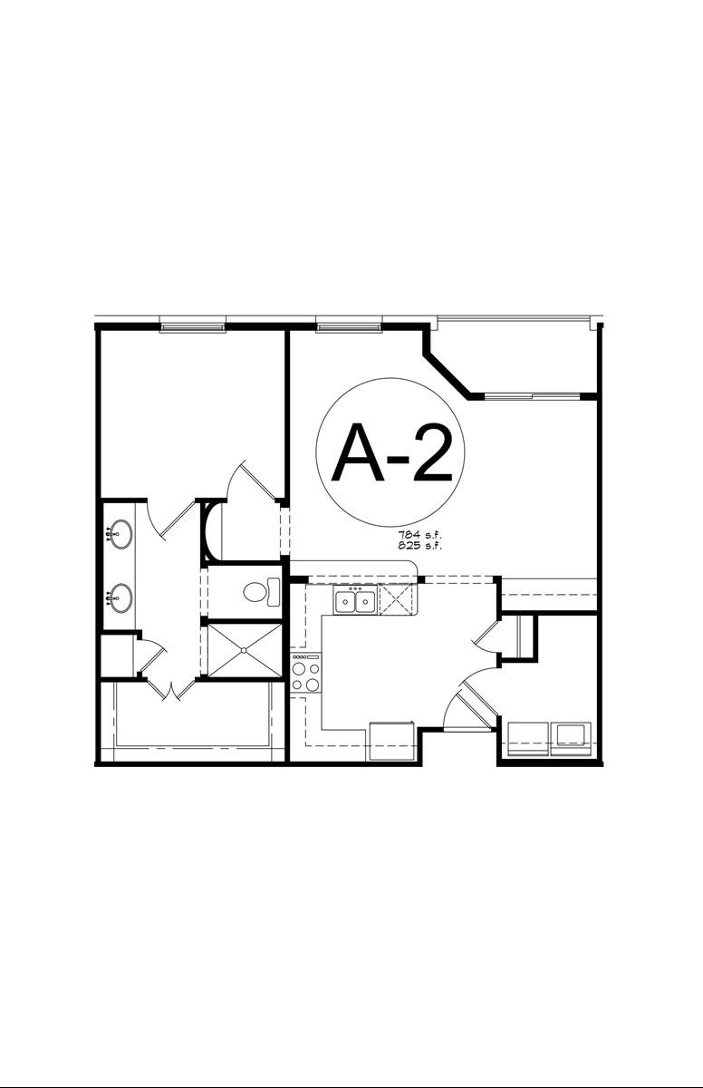 825 sq. ft. A2 floor plan