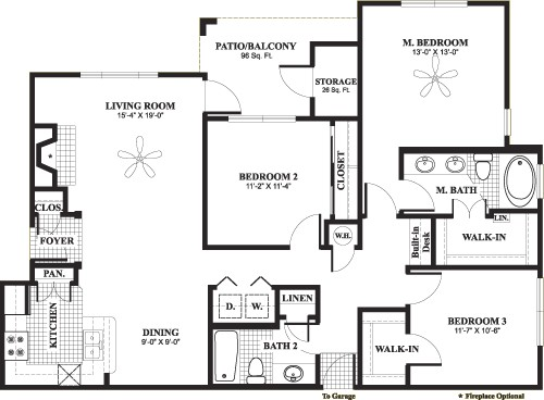 1,436 sq. ft. H4 floor plan