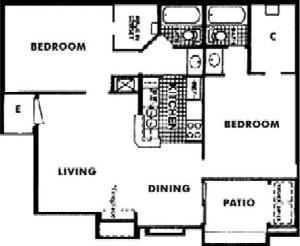 882 sq. ft. G floor plan