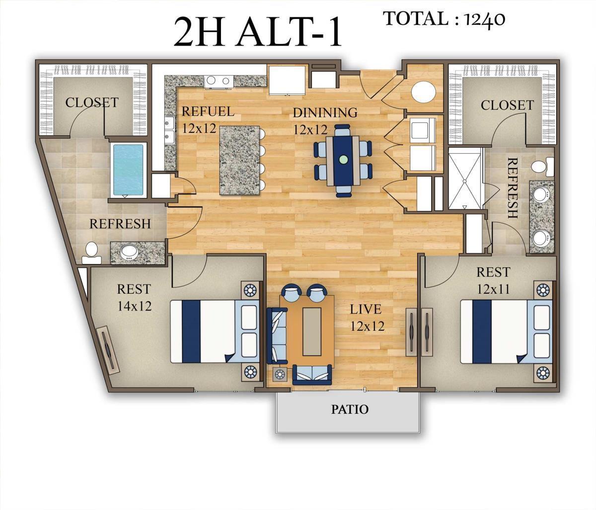 1,240 sq. ft. 2H Alt 1 floor plan