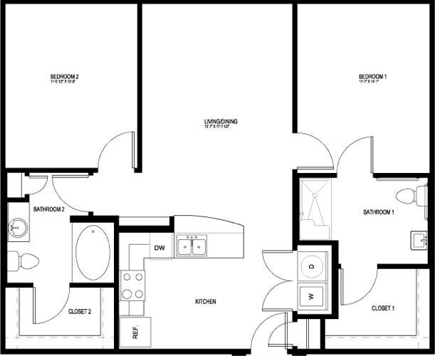 1,049 sq. ft. B1-HC-II floor plan