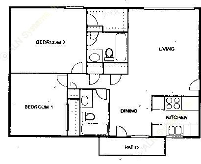 1,040 sq. ft. B floor plan