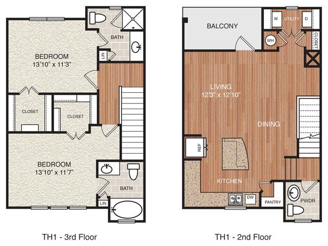 1,260 sq. ft. TH1 floor plan