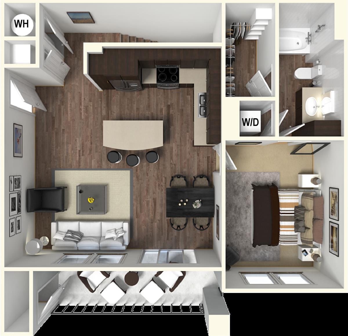 812 sq. ft. A5 floor plan