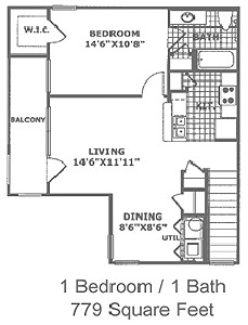 779 sq. ft. A2 60 floor plan