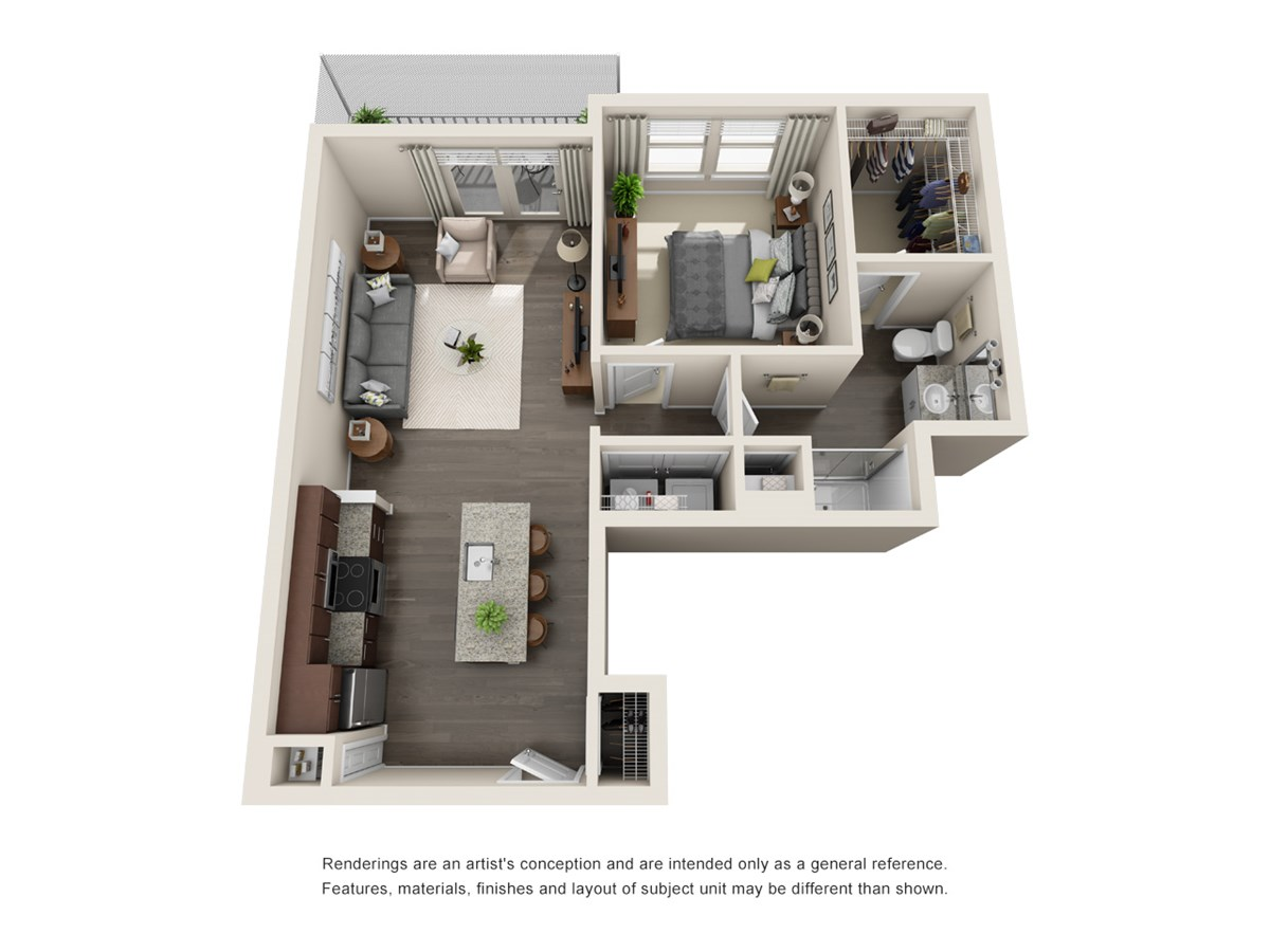 726 sq. ft. A5 floor plan