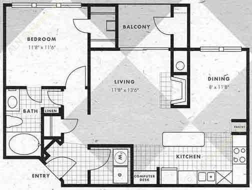 770 sq. ft. A3-A3G floor plan