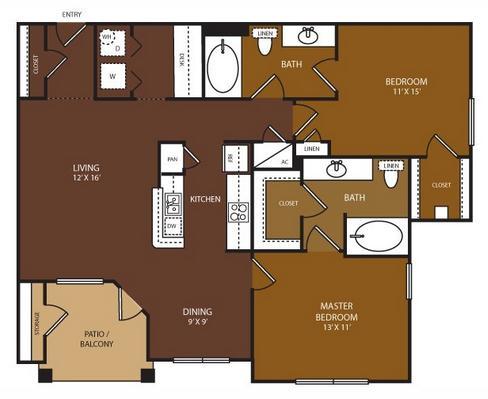 1,070 sq. ft. Ashby floor plan