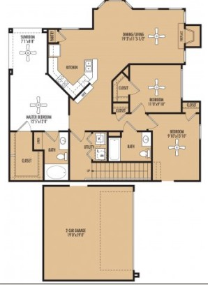 1,441 sq. ft. Bassetto c floor plan