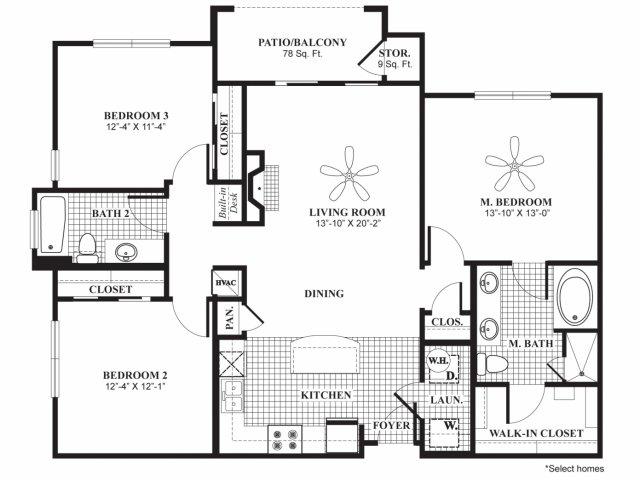 1,348 sq. ft. C1 floor plan