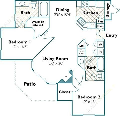 1,137 sq. ft. Swan floor plan