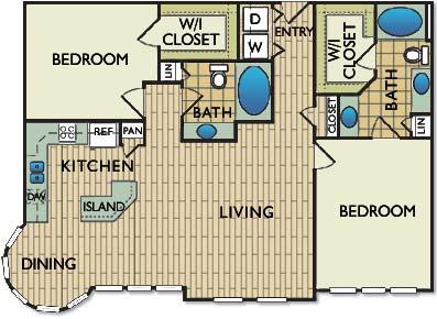 1,224 sq. ft. Picasso floor plan