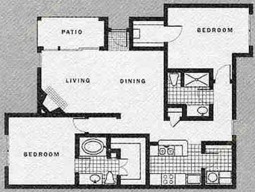 1,232 sq. ft. E w/Garage floor plan