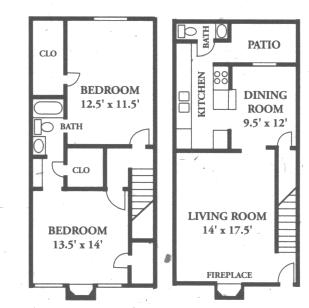 1,220 sq. ft. B6 floor plan
