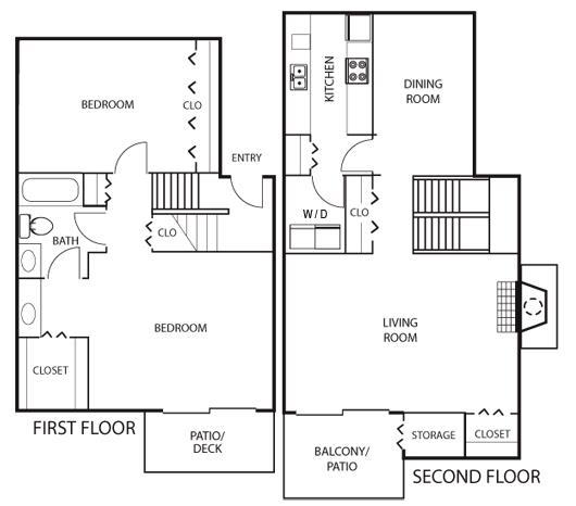 1,238 sq. ft. B4 floor plan