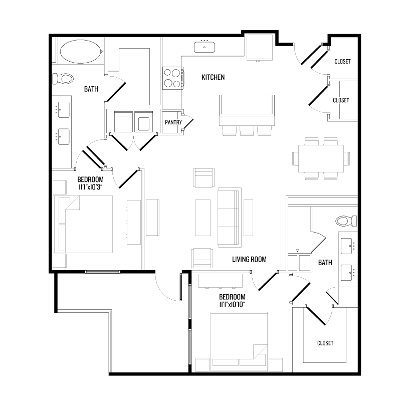 1,144 sq. ft. B5 floor plan