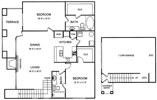 1,216 sq. ft. floor plan