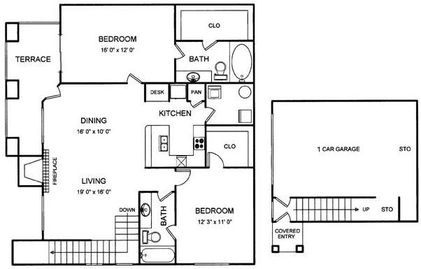 1,216 sq. ft. floor plan